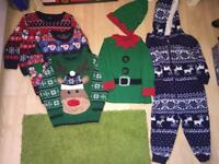 BOYS 2-3 CHRISTMAS JUMPERS x3, MUSICAL ELF TOP WITH HAT, ONESIE