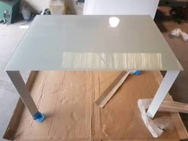 Large glass top extending dining table