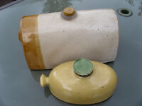 Two Stoneware hot water bottles one rare green glaze