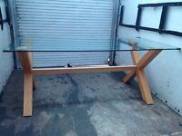 Oak cross table & 4 chairs