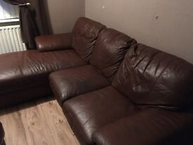 Leather 3 seater corner sofa and 2 seater in Tullibody