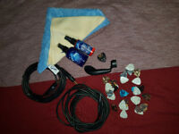 Assorted Guitar Picks, Gerlitz Cleaing Fluid Smudge Off & Honey, 2x Long Jack Cables, Tuning Winder