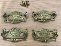 4 x vintage drawer handles, Brass? Drawer pulls