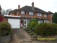 3 BEDROOM HOUSE TO LET, HANDSWORTH WOOD, SIDE GARAGE, LARGE REAR GARDEN