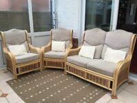 Cane conservatory suite,2 chairs 2 seater sofa.