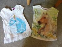 2 girl t shirts disney cinderella and a pony 5-6 years