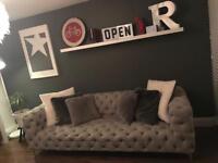 Large pearl grey sofa
