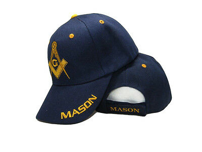 Blue And Gold Mason Masons Freemason Masonic Plain Lodge Ball Cap Hat  Ruf