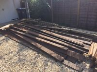 £150 - Hardwood Decking planks (4.8 and 3.6m x 60) Also timber frame and Bannister spindles x 60