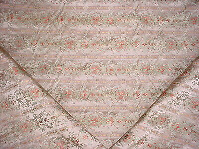 11Y SCHUMACHER FRENCH MINT FLORAL / SCROLL SILK DAMASK UPHOLSTERY FABRIC