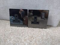 Flat plate black nickel single electrical sockets for sale