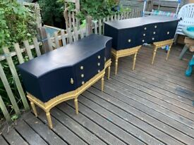 A Lovely Set Of Vintage Professionally Hans Painted Strongbow Sideboards - Can Deliver
