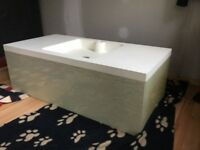 Wall hanging Free standing bathroom sink made in Italy Designer Sink 100cm