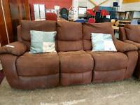 Suede brown 3 seater and 2 seater recliner sofa