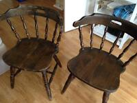 Pair of rustic farmhouse style wooden chairs