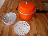 Vintage 1970s Orange Prestige Pressure Cooker