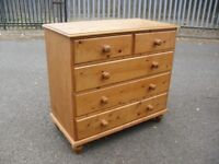 Vintage Solid Pine Heavy Chest Of 5 Drawers