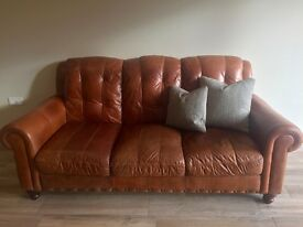 Three Seater Tan Leather DFS Sofa