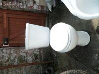 White Tin Bath and close coupled toilet