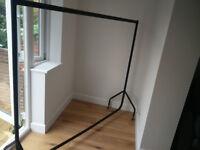 Heavy duty black metal clothes rail