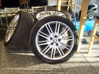 "JAGUAR 18"" ALLOYS ALL GOOD TYRES 5 X 108 WILL ALSO FIT FORD TRANSIT CONNECT AND OTHER FORDS"