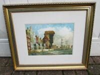 Genuine watercolour depicting a Gdansk waterside scene painted in 2004