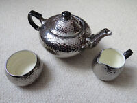Silvered Teapot, Cream and Sugar by Royal Winton