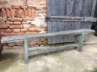 Old Wooden 4 Seats Vintage School Bench Rustic Decor Chairs Stool Picnic Garden