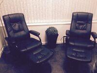 Black massage chairs