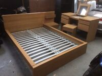 Ikea bed and bedside table plus matching dresser table with stool.