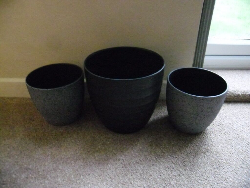 3 good quality Scheurich grey planters