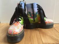 Size 6 platformed doc martens, multi coloured pattern