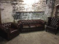 Brown Three Piece Chesterfield Suite
