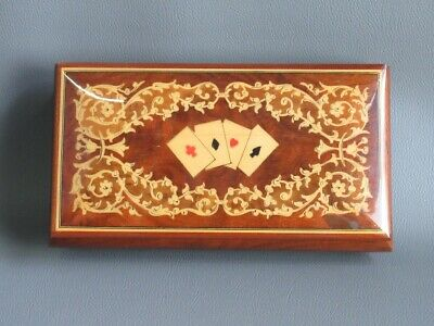 Vintage Box Box Sorrentino Wood Inlaid Lacquered Figure Cards