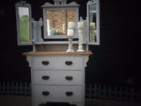 ANTIQUE SOLID WOOD DRESSING TABLE WITH TRIPLE MIRROR PAINTED WITH LAURA ASHLEY PARIS GREY