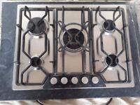 AEG Gas Hob with 5 rings (including large wok burner) - brushed chrome finish