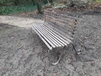 Lovely victorian garden bench 18ooapprox7ft long and would look good restored or even left as it is