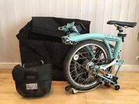 Brompton M3L Teal fold up bicycle with Carry Case + Ortleib Bag + Specialized saddle upgrade
