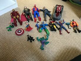 Collection of marvel/batman figures
