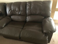 2X2 Seater leather recliner sofas - excellent condition - only 6 months old