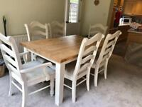 Solid pine farmhouse dining table and 6 chairs