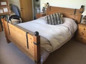 King Size Solid Wood Bed Mattress and Side tables VGC