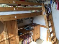 Pine Cabin Bed High Sleeper with Ladder plus Wardrobe, Cupboard and built in desk.