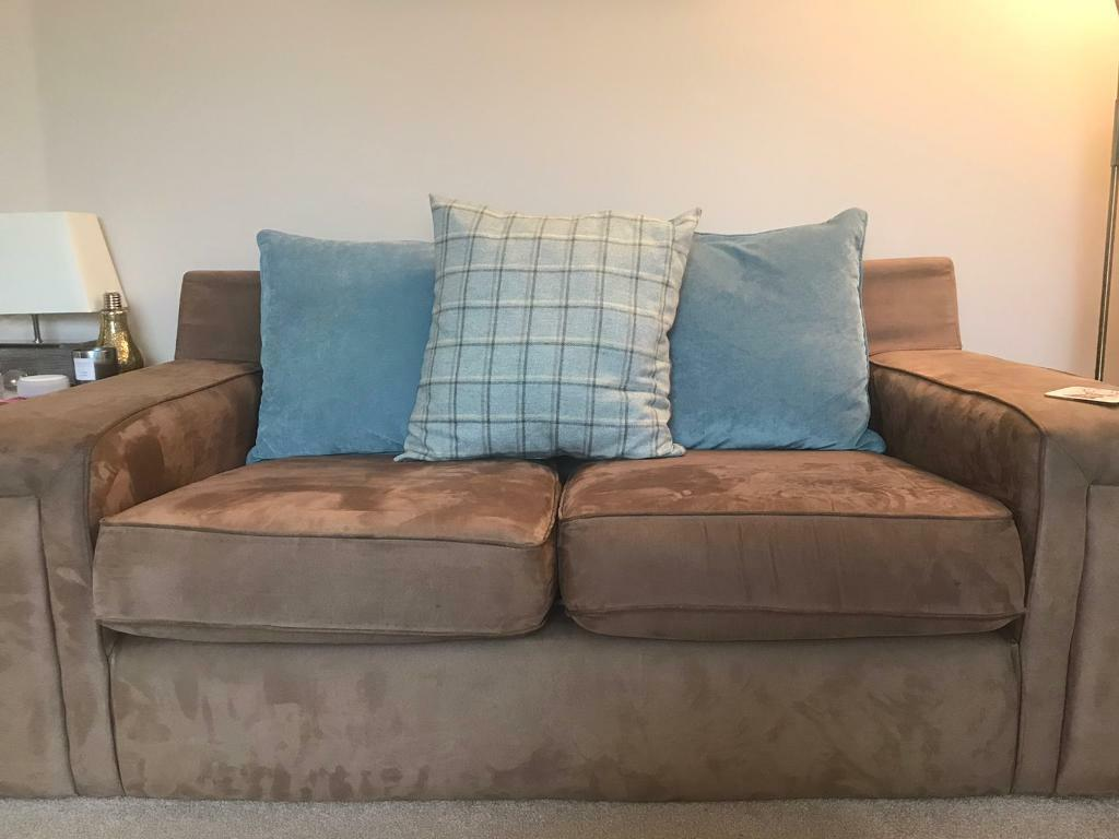 X2 Brown Suede And Tweed Sofas For