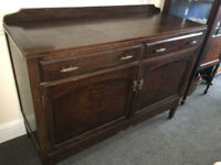 Attractive Vintage Rustic Oak Spacious Sideboard Buffet Server