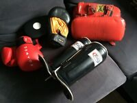 Thai-Boxing equipment. Gloves and Pads