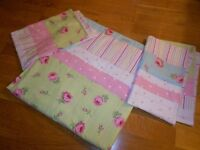 Cath Kidston Style Roses Floral Double Duvet Cover Set Pink Duck Egg Blue Green Candy Stripe