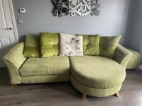 4 seater sofa, cuddler sofa and footstool