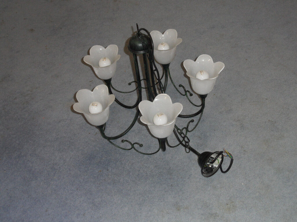 Hanging ceiling lights for sale x3. 2x 3lamp and 1x 5 lamp in dark verdigris /frosted glass shades