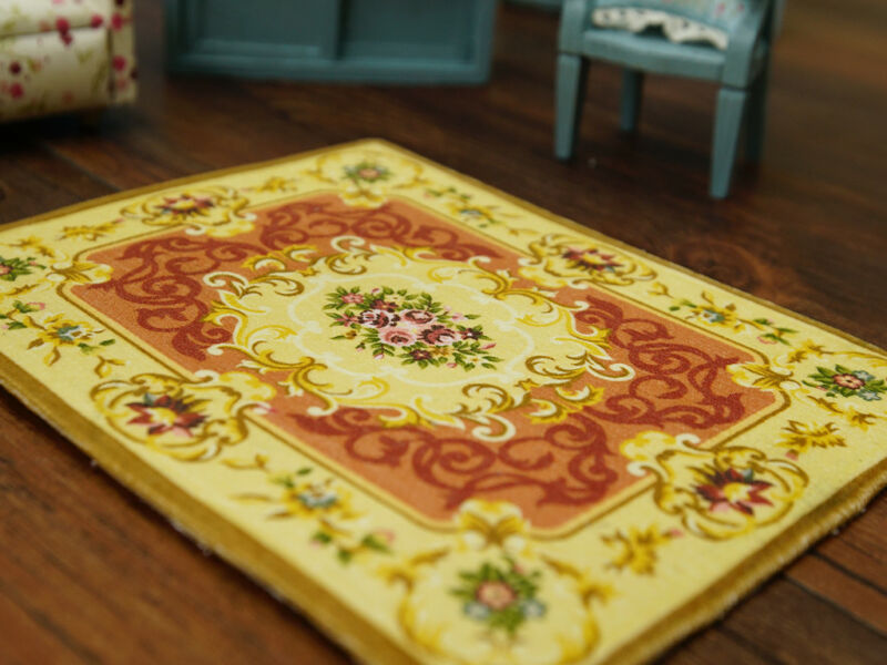 French Aubusson Style 1:12 Miniature Dollhouse Rug